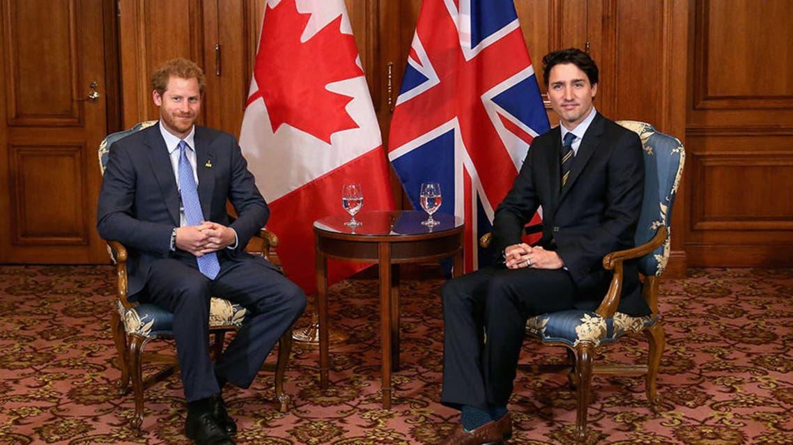رئيس وزراء كندا والأمير هاري في لقاء سابق