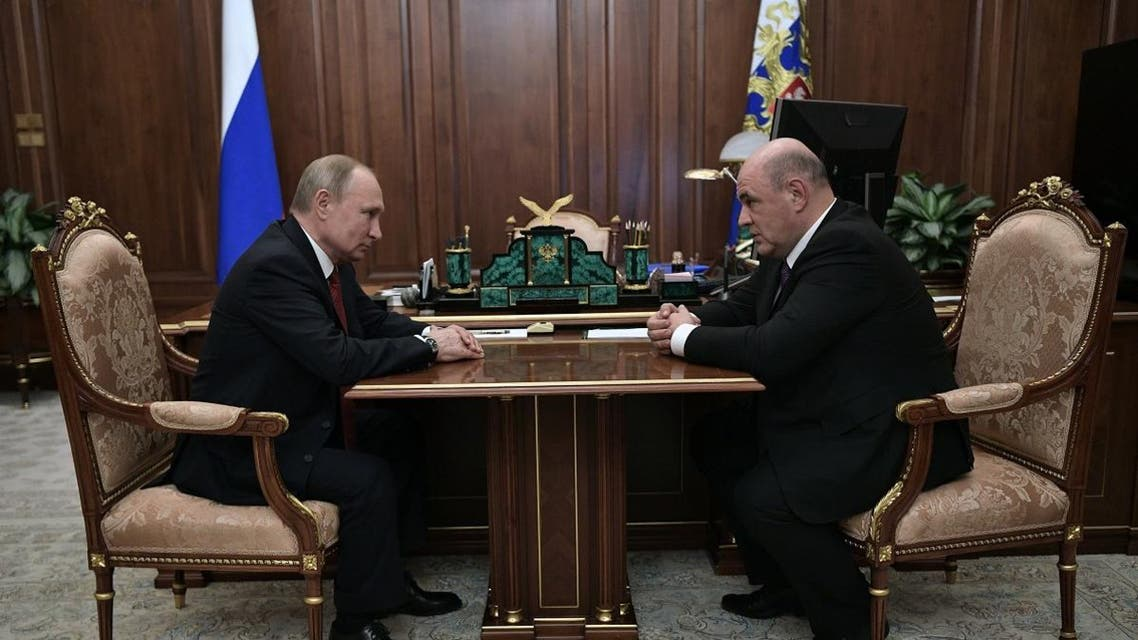 Russian President Vladimir Putin meets with Russia's Tax Service chief Mikhail Mishustin in Moscow on January 15, 2020. (AFP)