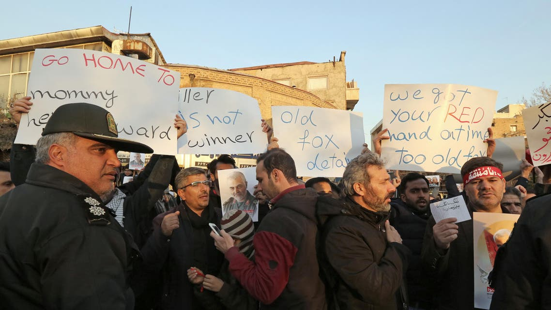 Iranian demonstrators protest in front of the British embassy in the capital Tehran on January 12, 2020. (AFP)