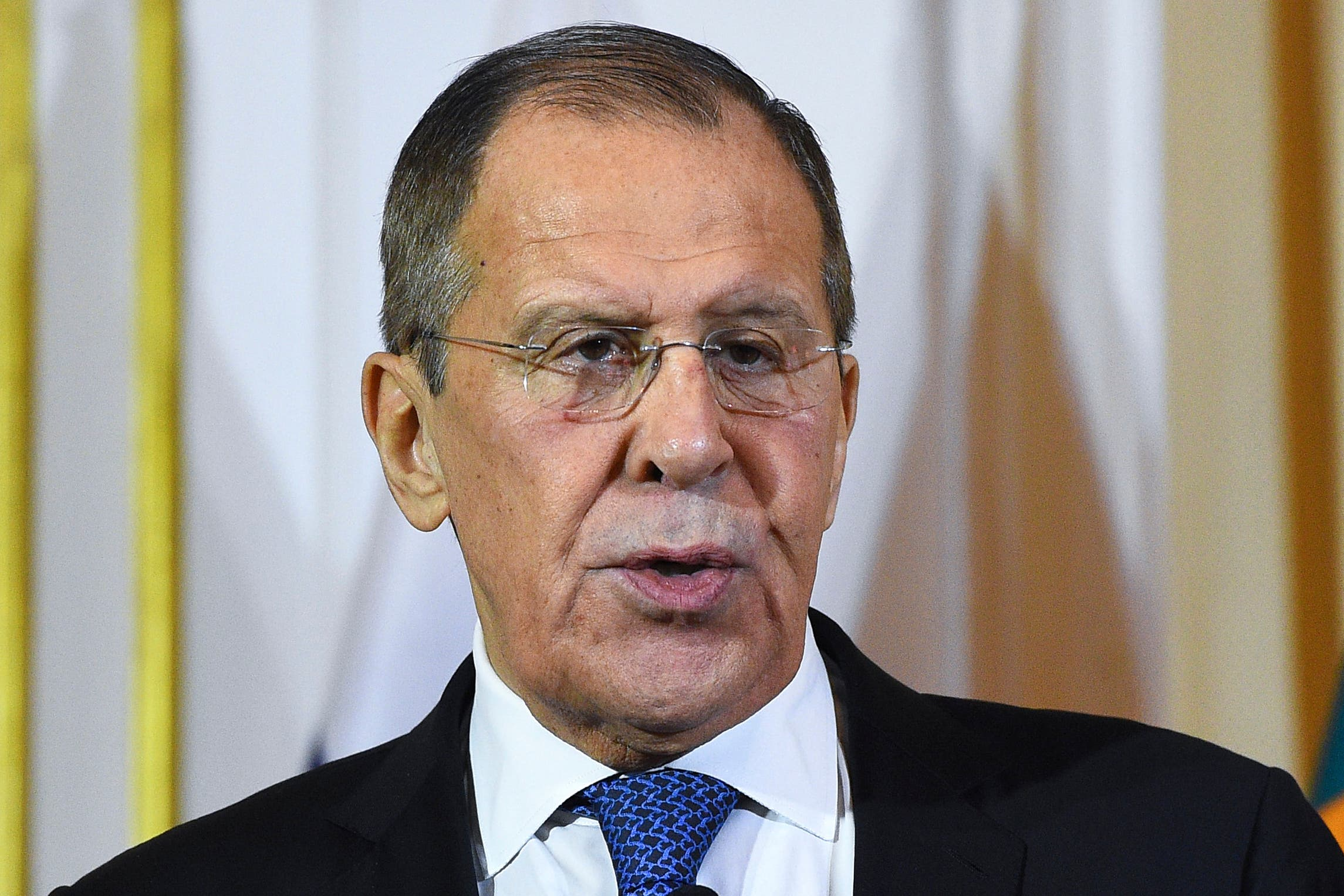 Russian Foreign Minister Sergey Lavrov at a press conference in Colombo on January 14, 2020. (AFP)