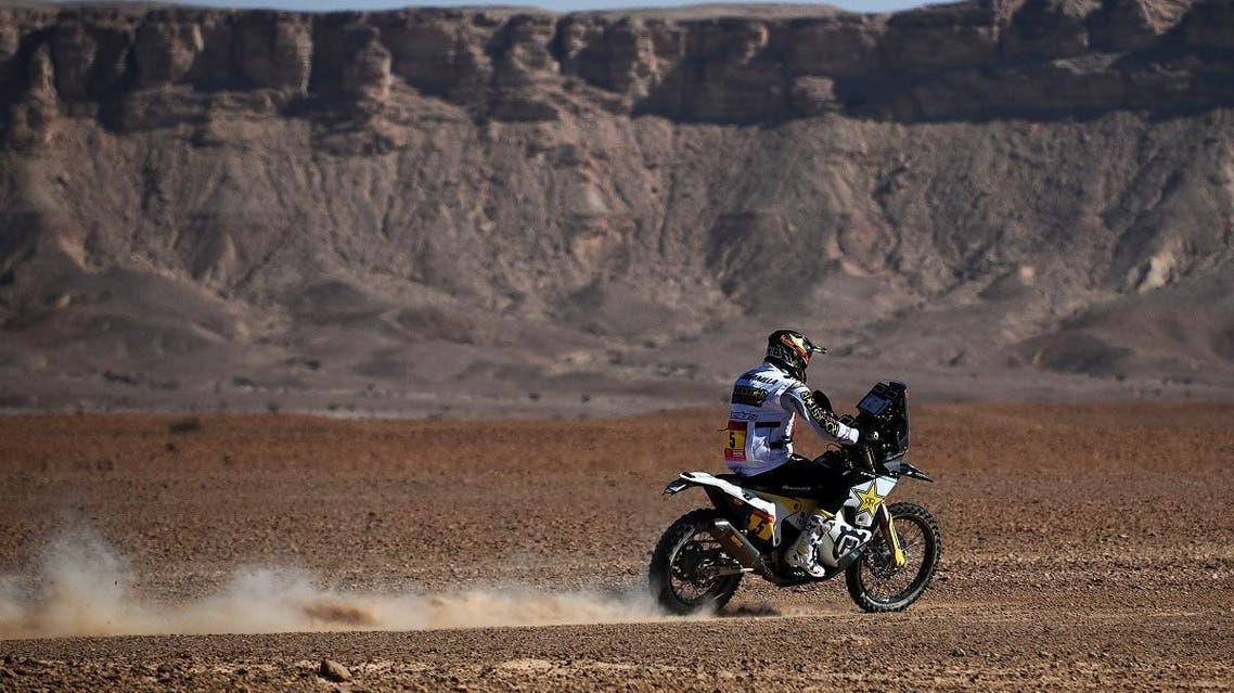 Chilean biker Pablo Quintanilla powers his Husqvarna during the Stage 9 of the Dakar 2020 between Wadi Al Dawasir and Haradh, Saudi Arabia, on January 14, 2020. (AFP)