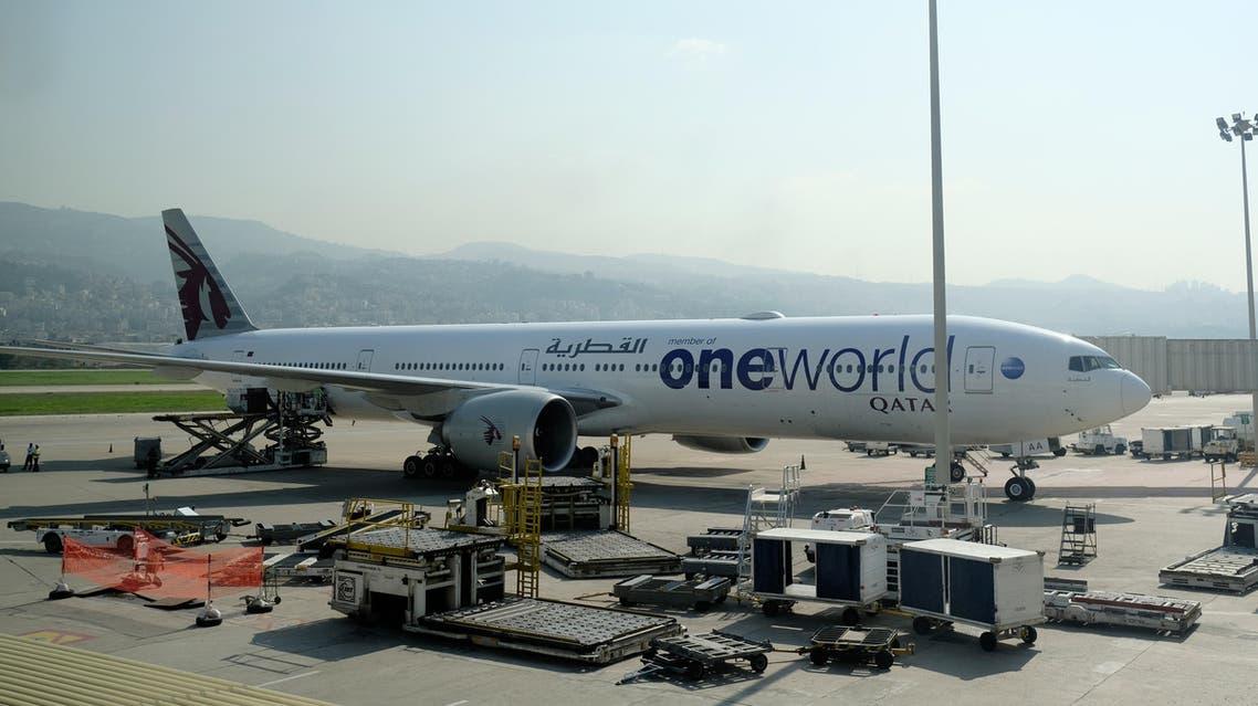 A Qatar Airways Boeing 777 aircraft sits on the tarmac at Lebanon's Rafic Hariri International Airport