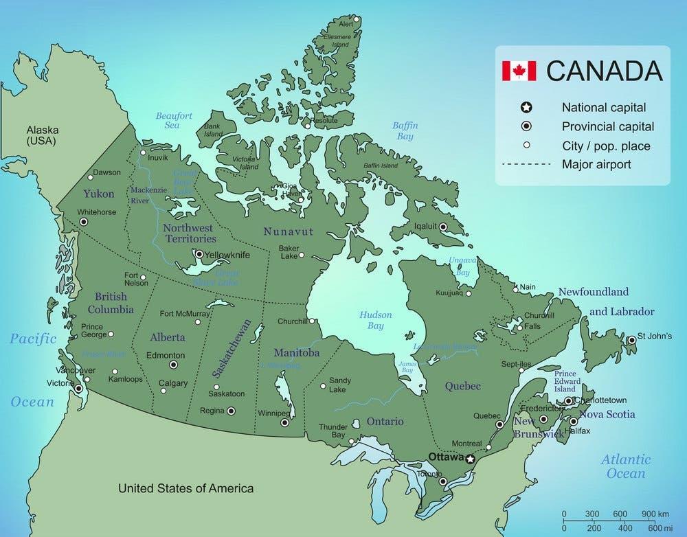خريطقة لمقاطعات كندا