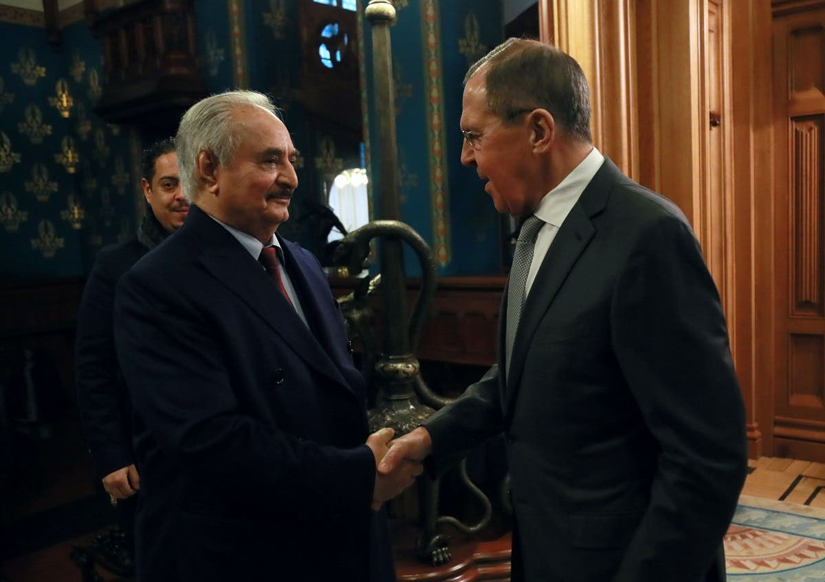 Libyan National Army Khalifa Haftar shakes hands with Russian Foreign Minister Sergei Lavrov before talks in Moscow. (Reuters)
