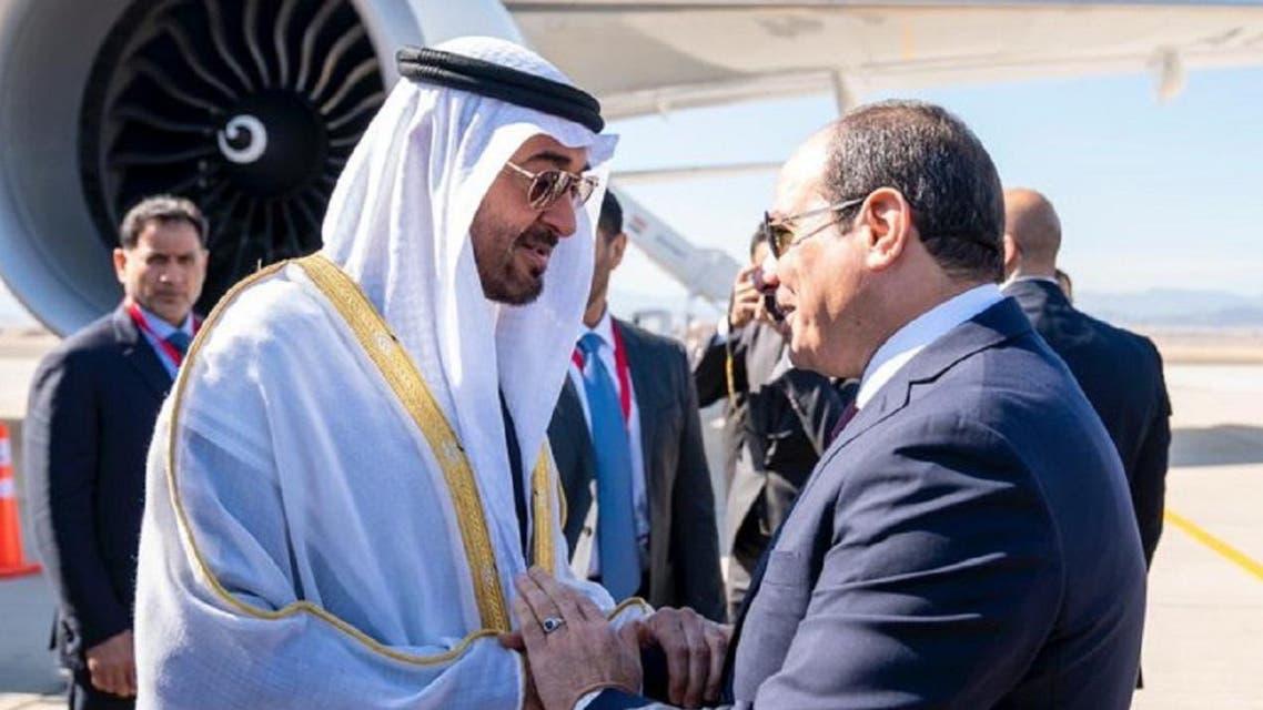 Abu Dhabi Crown Prince Sheikh Mohammed bin Zayed Al Nahyan with Egyptian President Abdel Fattah al- Sisi (Photo: Twitter)