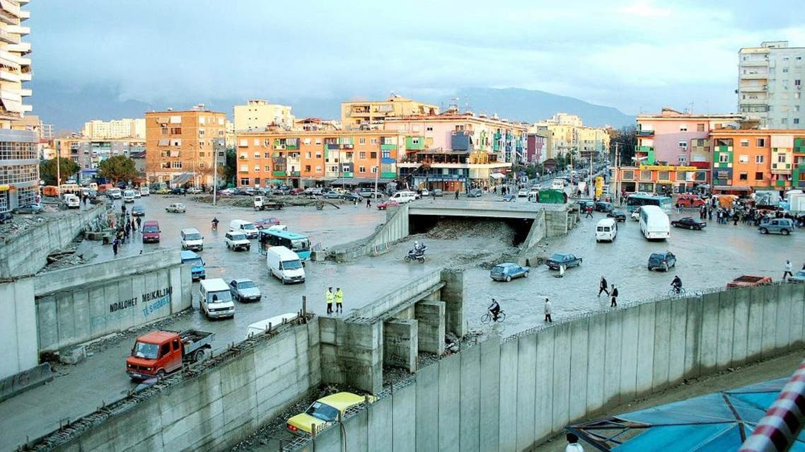 A general view of the half-built intersection road in downtown Tirana, Albania. (File photo: AP)