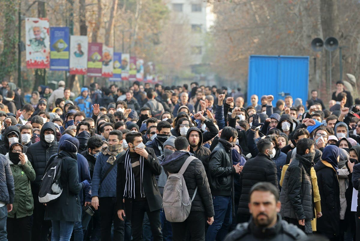Iranian students gather for a demonstration over the downing of a Ukrainian airliner at Tehran University on January 14, 2020. (Photo: AP)