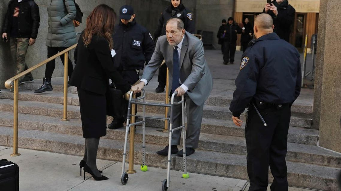 Film producer Harvey Weinstein departs New York Criminal Court as jury selection continues in his sexual assault trial in the Manhattan borough of New York City. (Reuters)
