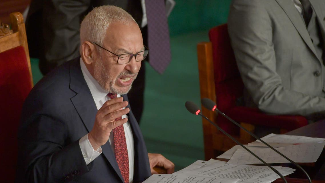 راشد الغنوشي في البرلمان التونسي(أرشيفية- فرانس برس)