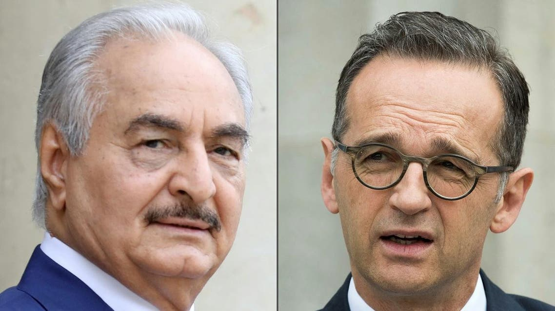 Combo picture of General Khalifa Haftar (L), and German Foreign Minister Heiko Maas. (AFP)