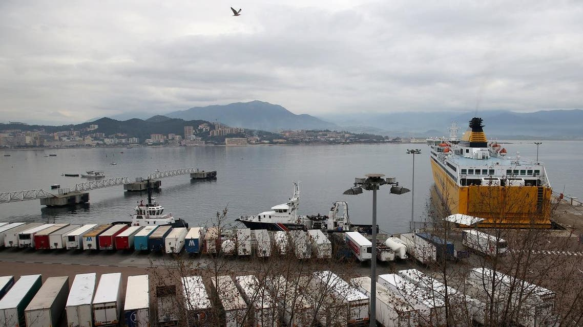 trucks stuck in the autonomous port of Ajaccio, blocked by the union of La Meridionale company ferry-boats, on the French island of Corsica, on Jnauary 16, 2020. (AFP)