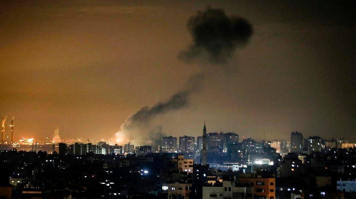 Smoke rises following an Israeli airstrike on Gaza City on January 15, 2020. (AFP)
