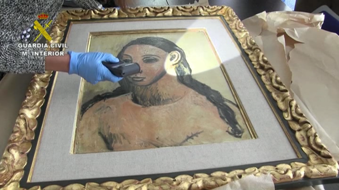 "The seizure of Spanish master Picasso's ""Head of a Young Woman"", a 1906 painting valued at 26 million euros. (Reuters/Screengrab)"