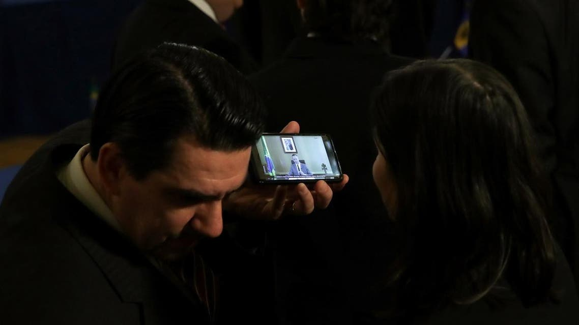 iplomats gathered at the Organization of American States watch a video of remarks by Brazil's Culture Secretary Roberto Alvim, for which Alvim was fired for appearing to copy a speech by Nazi propaganda chief Joseph Goebbels. (Reuters)