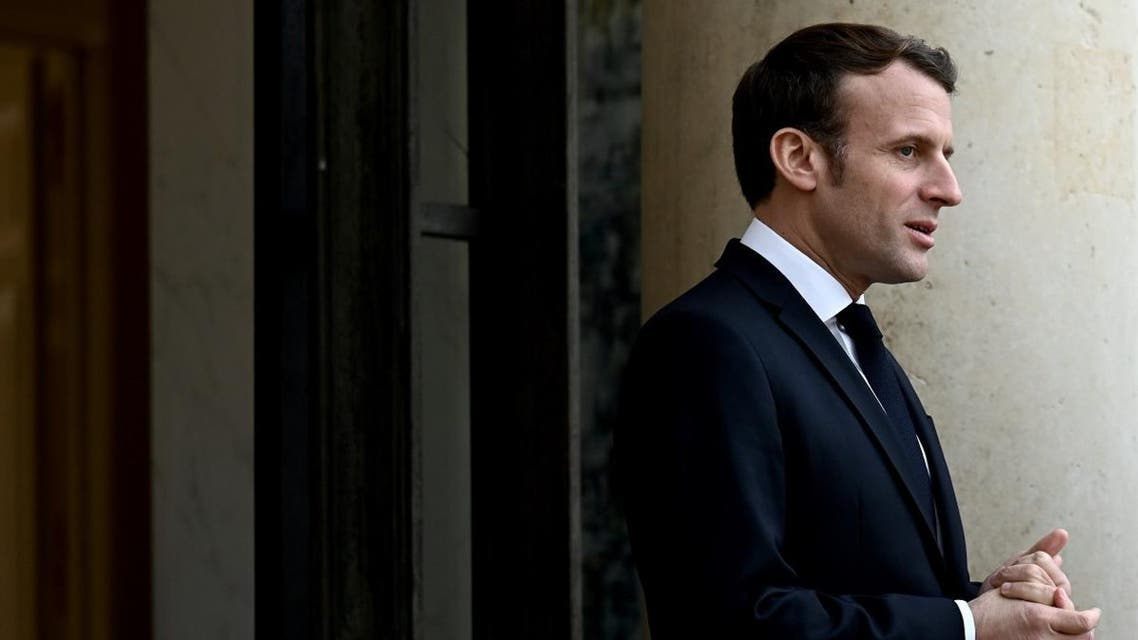 French President Emmanuel Macron waits to welcome European Council President at the Elysee palace in Paris on January 10, 2020. (AFP)