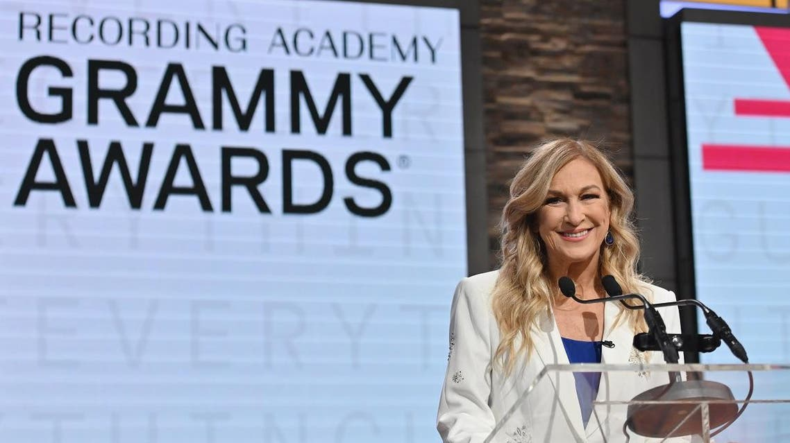 Recording Academy president and CEO Deborah Dugan speaks during the 62nd Grammy Awards Nominations Conference at CBS Broadcast Center on November 20, 2019 in New York City. (AFP)