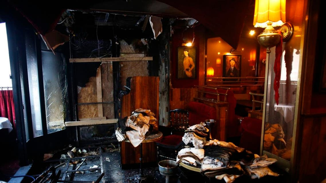 Inside view of the burned out remains of the restaurant La Rotonde, in Paris, Saturday, jan.18, 2020. (AP)