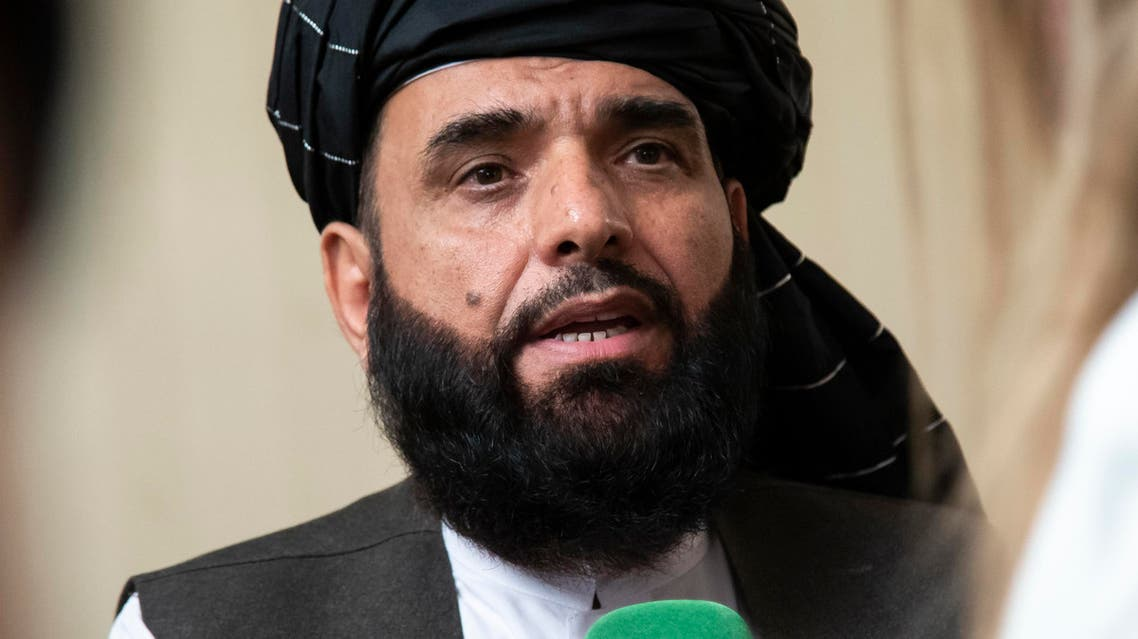 uhail Shaheen, spokesman for the Taliban's political office in Doha, speaks to the media in Moscow, Russia. (AP)