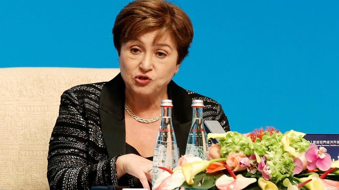 """Kristalina Georgieva speaks at a news conference following the """"1+6"""" Roundtable meeting at the Diaoyutai state guesthouse in Beijing, China. (Reuters)"""