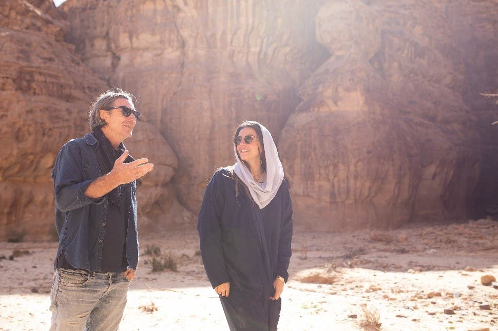 Neville Wakefield and Raneem Farsi, curators of Desert X AlUla, onsite. photo by Noon Art, image courtesy RCU.