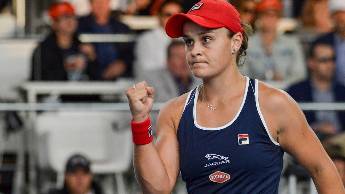 Ashleigh Barty of Australia reacts during her women's quarterfinal singles match against Marketa Vondrousova of Czech Republic at the Adelaide International tennis tournament in Adelaide on January 16, 2020. Brenton EDWARDS / AFP