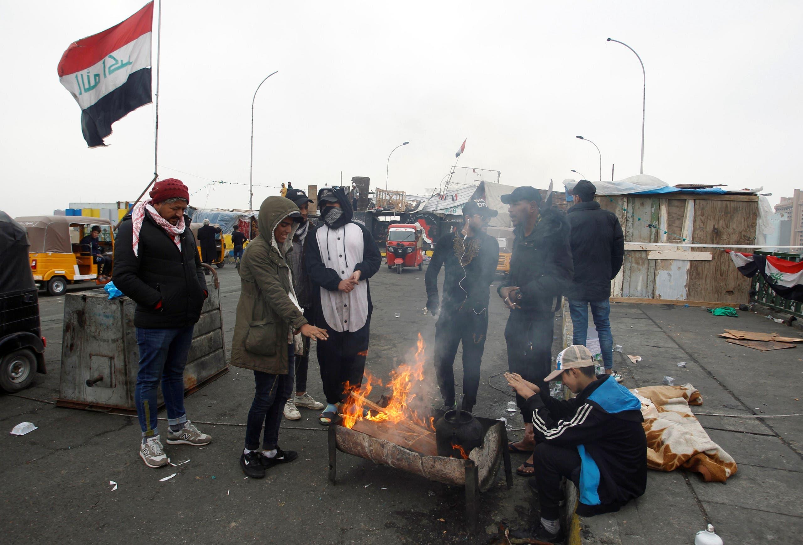من احتجاجات العراق - جسر السنك بغداد
