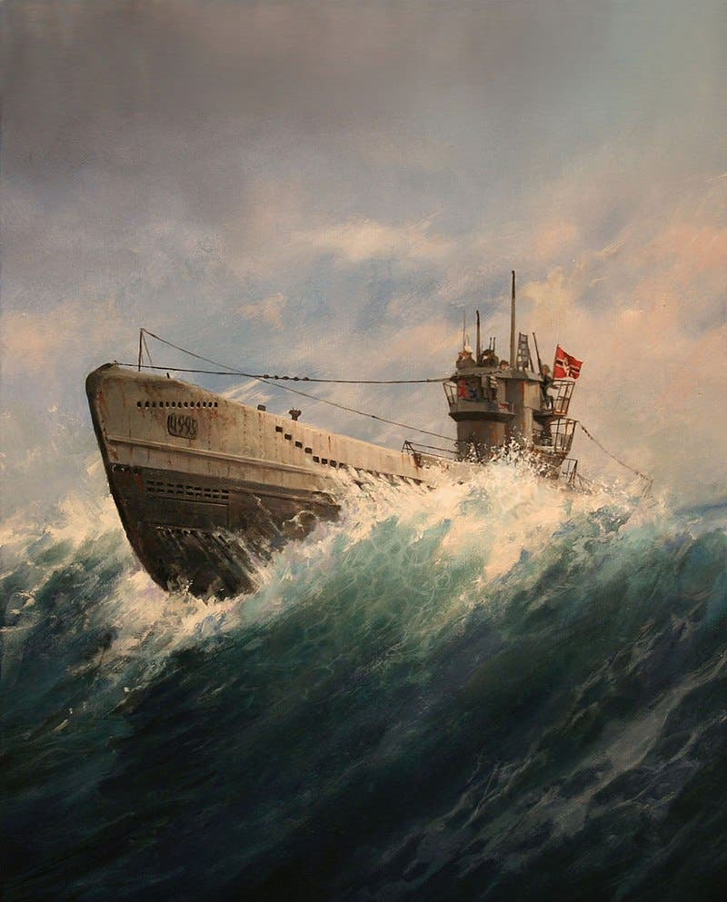 لوحة تجسد غواصة ألمانية بالحرب العالمية الثانية