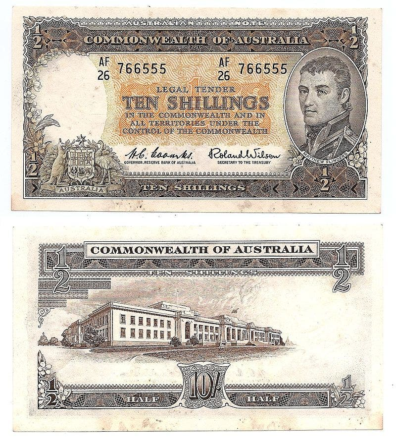ورقة نقدية أسترالية تعود للقرن الماضي وتحمل صورة المستكشف فليندرز