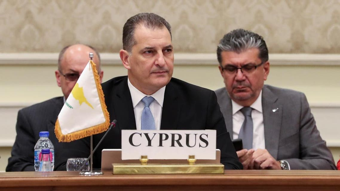 Yiorgos Lakkotrypis, Cypriot Environment and Energy Minister speaks at the third East Mediterranean Gas Forum (EMGF) meeting which is hosted by Egypt and brings together Cyprus, Greece, Israel, Italy, Jordan and the Palestinians in Cairo. (Reuters)