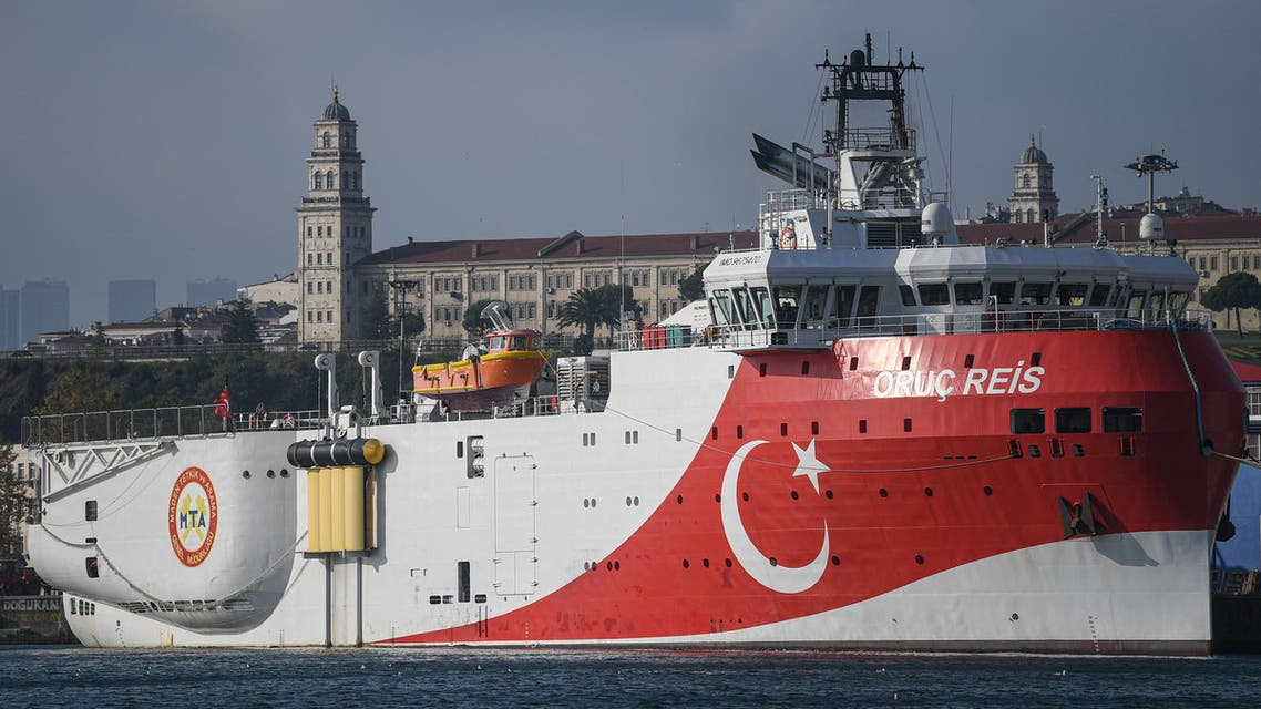 Picture shows a Turkish General Directorate of Mineral research and Exploration's (MTA) Oruc Reis seismic research vessel docked at Haydarpasa port, which searches for hydrocarbon, oil, natural gas and coal reserves at sea. (File photo: AFP)