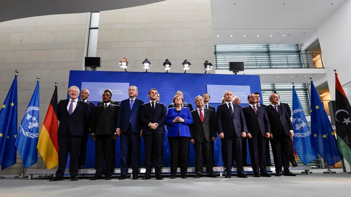 World leaders pose for a family picture during a peace summit on Libya at the Chancellery in Berlin. (AFP)