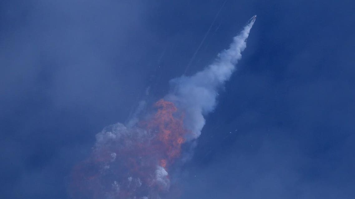 A SpaceX Falcon 9 rocket engine self-destructs after jettisoning the Crew Dragon astronaut capsule during an in-flight abort test after lift of from the Kennedy Space Center in Cape Canaveral. (Reuters)