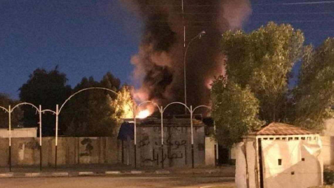 Protesters burned the Hezbollah headquarters in Iraq which is located near the housing bridge in the Najaf province on January 18, 2020. (Supplied).