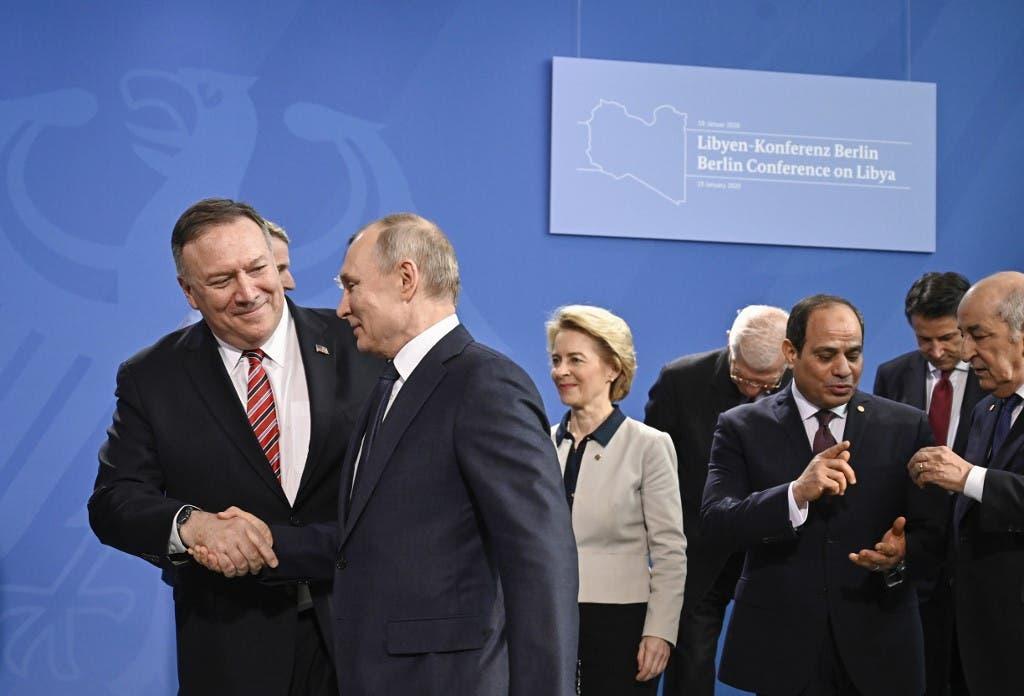 مايك بومبيو والرئيس الروسي في قمة برلين