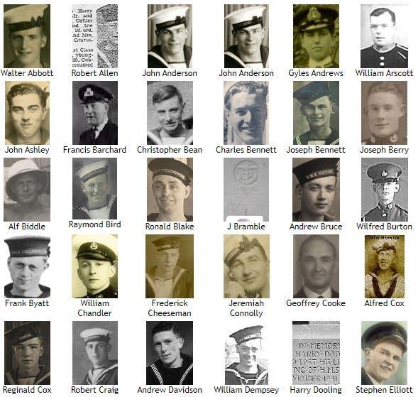 صورة لعدد من ضحايا كارثة أتش أم أس بارهام