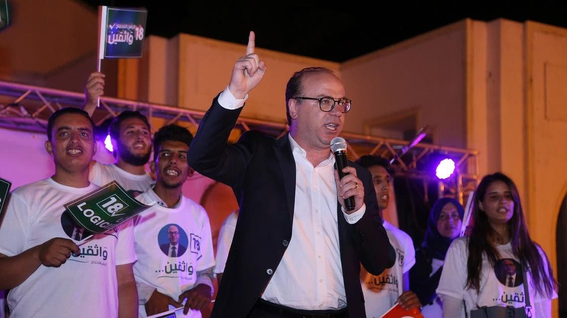 Elyes Fakhfakh, a Tunisian presidential candidate, speaks during an electoral campaign in Tunis on September 12, 2019. (AFP)
