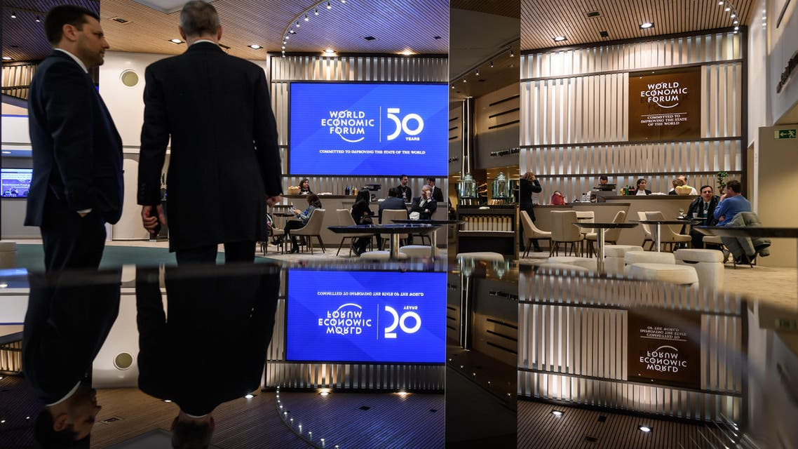 A view of the lobby inside the Congress center ahead of the annual meeting of the World Economic Forum (WEF) on January 20, 2020 in Davos. (AFP)