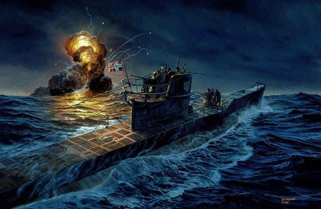 رسم تخيلي لإحدى الغواصات الألمانية