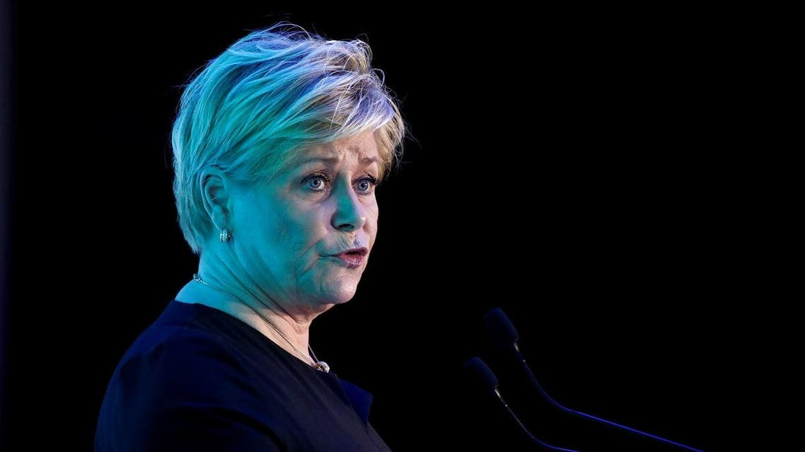 Norway's Finance Minister Siv Jensen speaks during the Euronext stock exchange's annual conference in Paris, France January 14, 2020. REUTERS