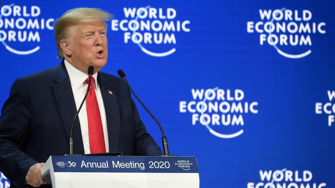 US President Donald Trump delivers a speech at the Congress center during the World Economic Forum (WEF) annual meeting in Davos, on January 21, 2020. (AFP)
