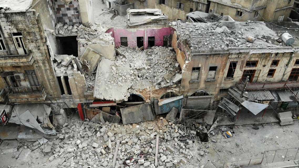 An aerial view shows a destroyed building following a regime air strike on Ariha town in Syria's last major opposition bastion of Idlib on January 15, 2020. At least 20 other civilians were wounded in the raids that struck a bustling area of Idlib city, capital of the rebel-held province of the same name, said the Syrian Observatory for Human Rights.