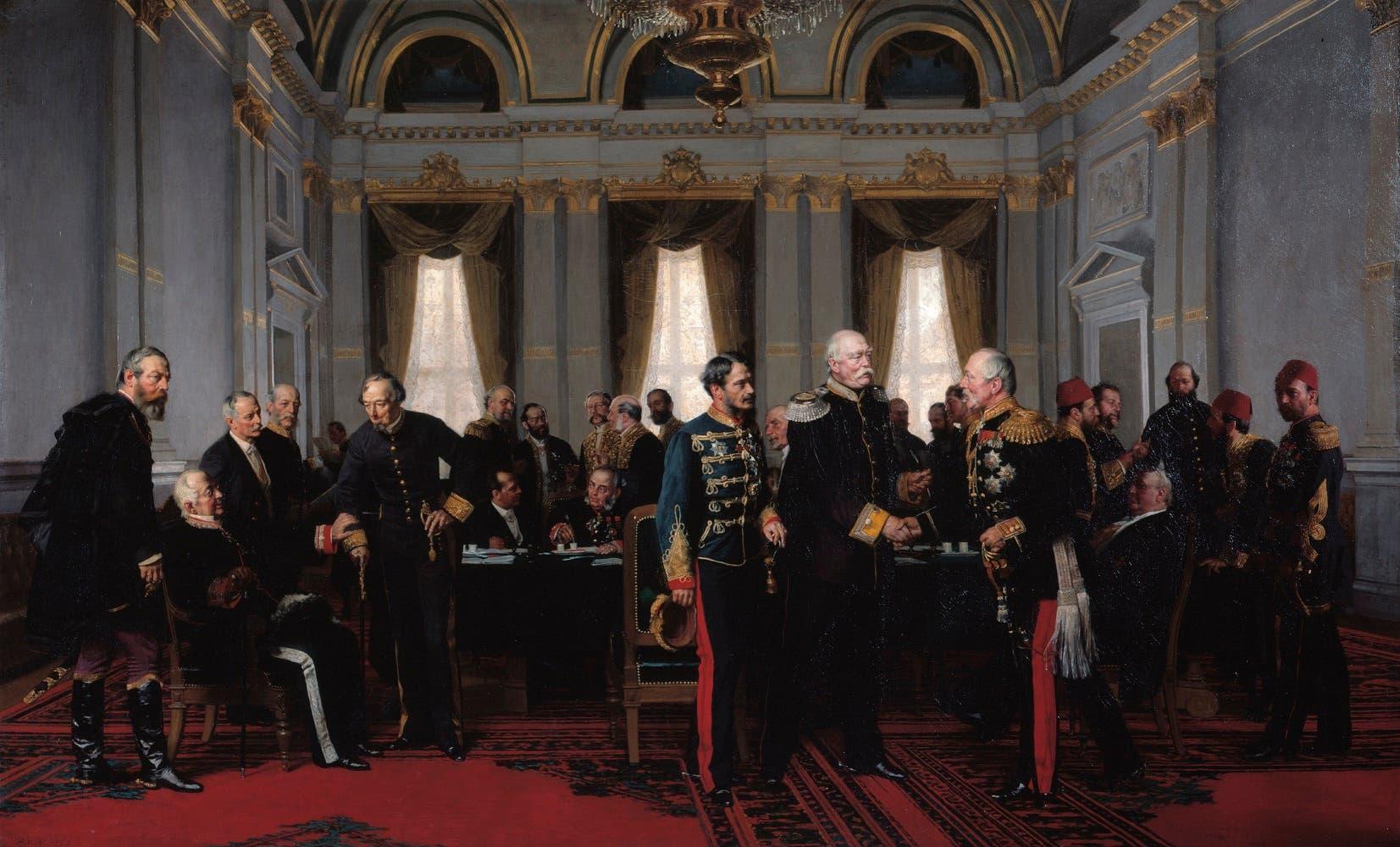 لوحة تجسد مؤتمر  برلين عام 1878 ويظهر بها الوفد التركي بالخلف