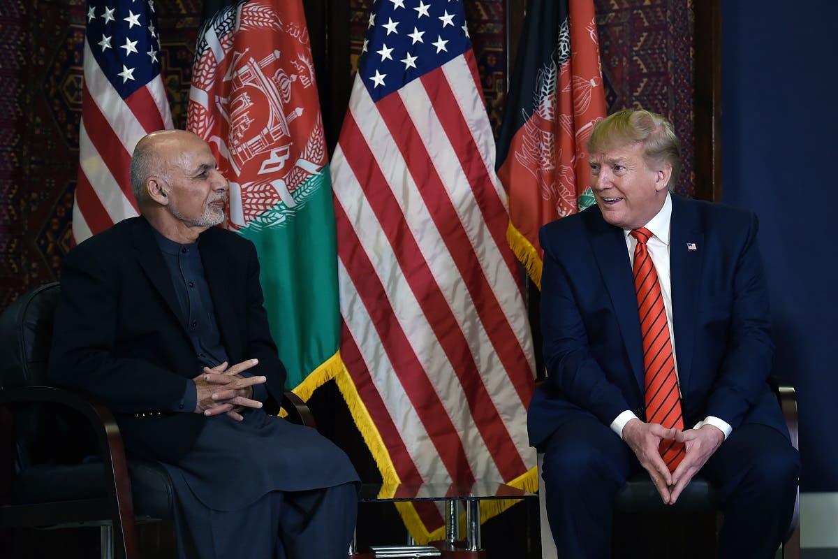 US President Donald Trump holds a bilateral meeting with Afghan's President Ashraf Ghani at Bagram Air Field during a surprise Thanksgiving day visit, on November 28, 2019 in Afghanistan. (File photo: AFP)