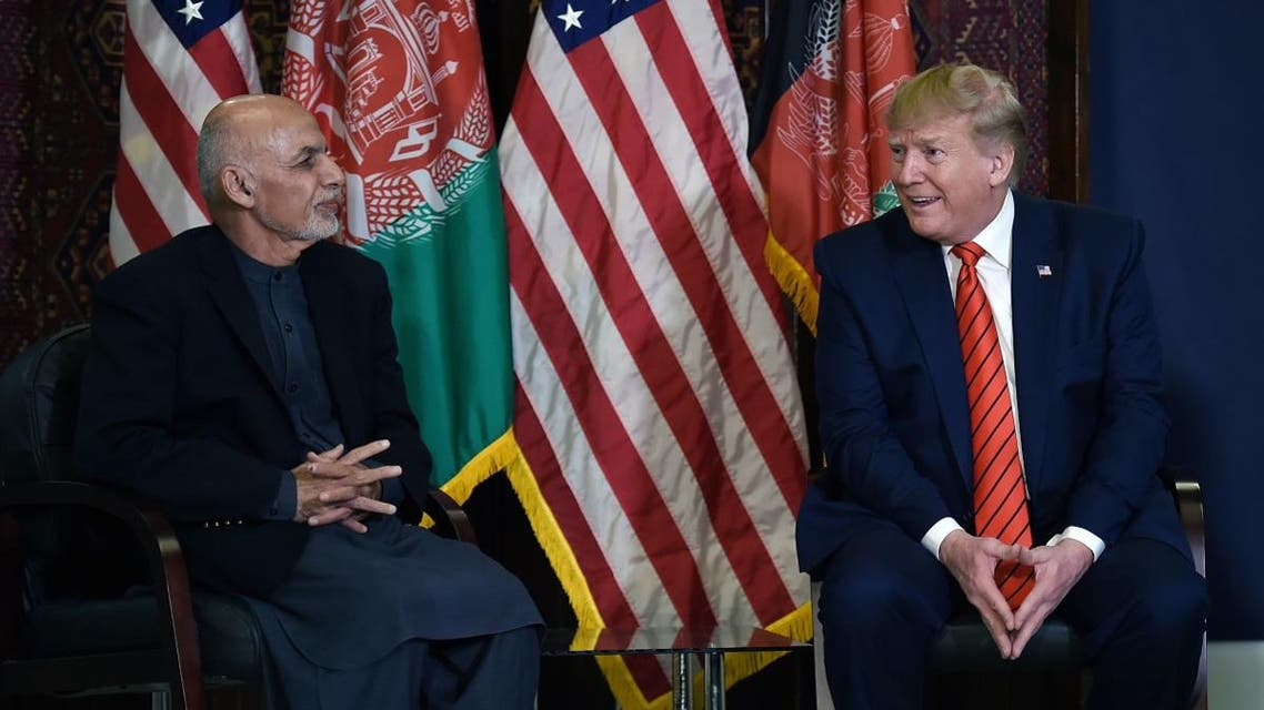 US President Donald Trump holds a bilateral meeting with Afghan's President Ashraf Ghani at Bagram Air Field during a surprise Thanksgiving day visit, on November 28, 2019 in Afghanistan. (AFP)