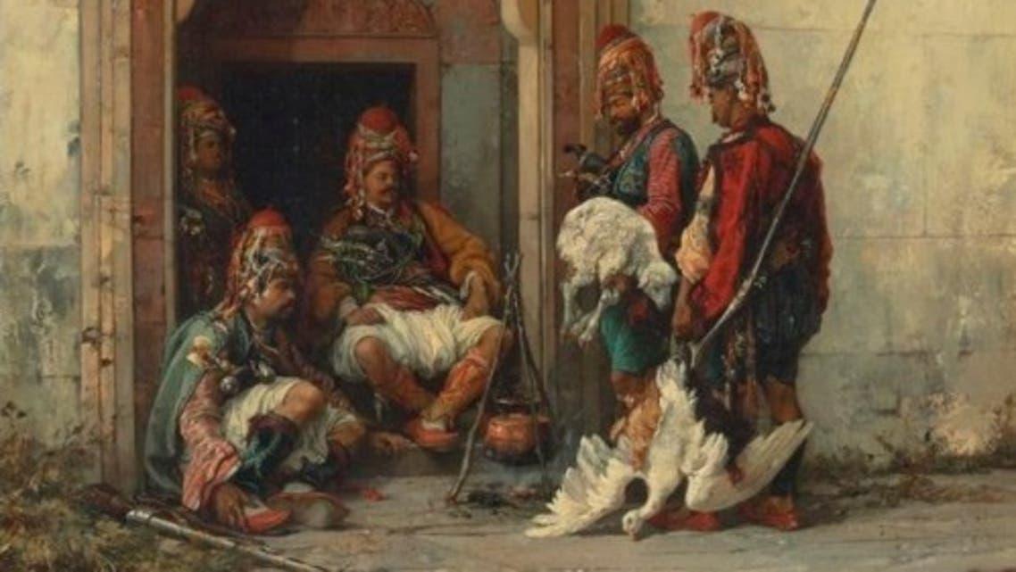 لوحة للرسام البولندي شليبوسكي تجسد عددا من الباشبوزق عقب نهبهم لبعض الحيوانات