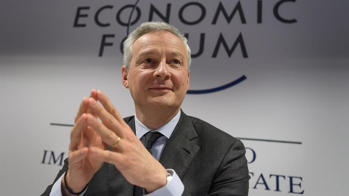French Economy and Finance Minister Bruno Le Maire attends a press conference during the World Economic Forum (WEF) annual meeting in Davos, on January 22, 2020. (AFP)