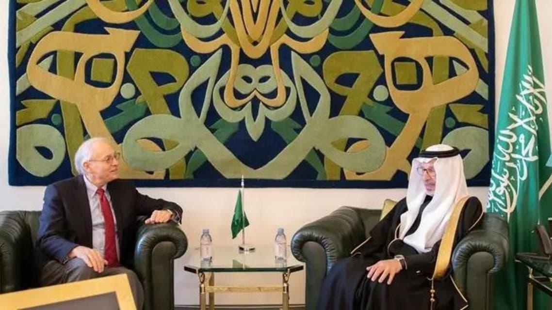 Saudi Arabia's Minister of State for African Affairs Ahmed bin Abdulaziz Kattan meeting with US Envoy to Sudan. (Supplied)
