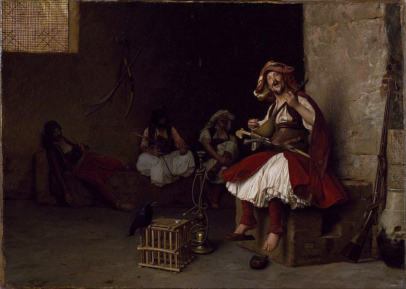 لوحة للرسام الفرنسي جان ليون جيروم لأحد أفراد الباشبوزق وهو يغني