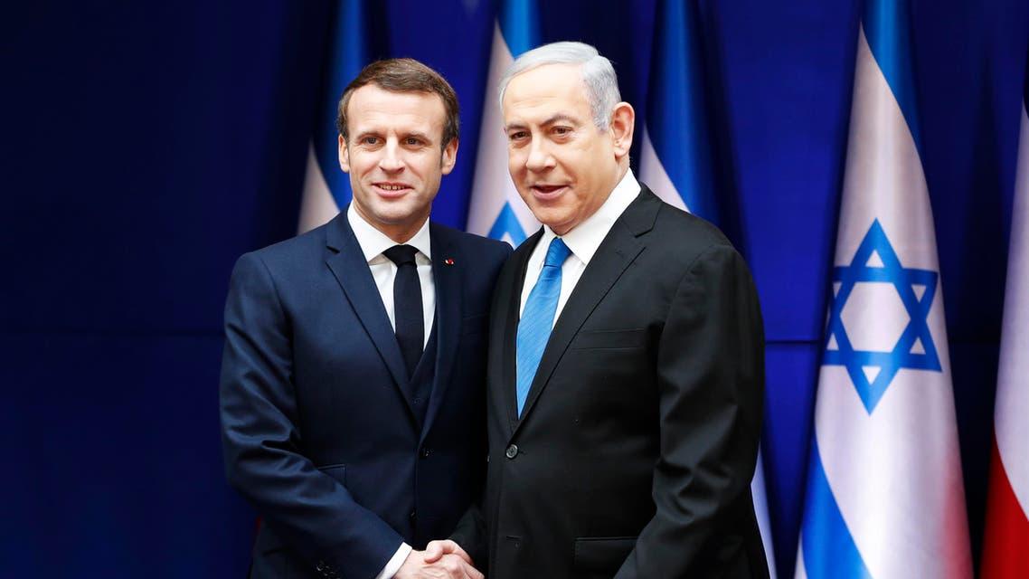 French President Emmanuel Macron and Israeli Prime Minister Benjamin Netanyahu, right, during their meeting in Jerusalem on Jan. 22, 2020. (Photo: AP)