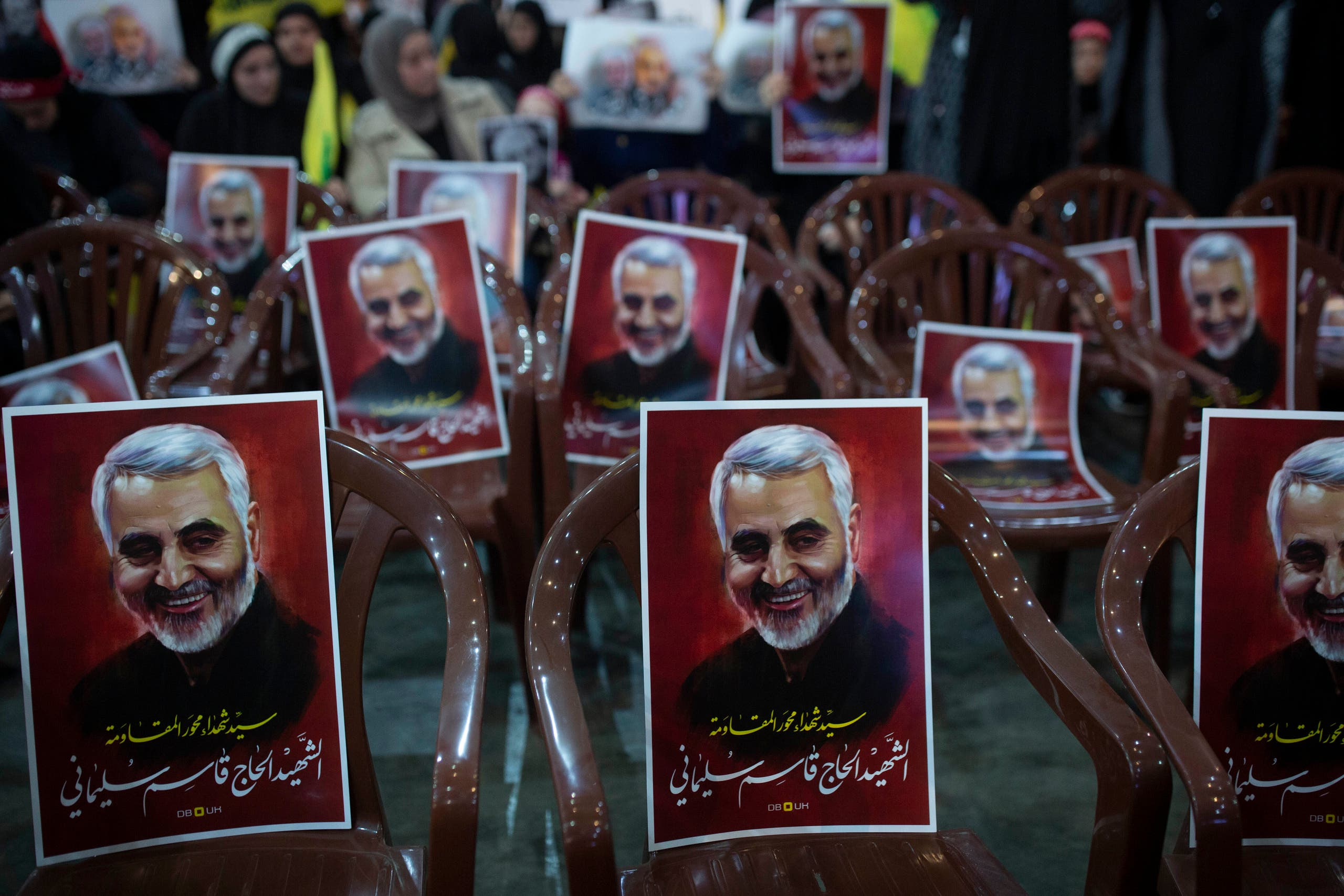 Posters of slain Iranian Revolutionary Guard Gen. Qassem Soleimani are placed on chairs as supporters of Hezbollah leader Sayyed Hassan Nasrallah gather for his televised speech in a southern suburb of Beirut, Lebanon, Sunday, Jan. 5, 2020. (File photo: AP)